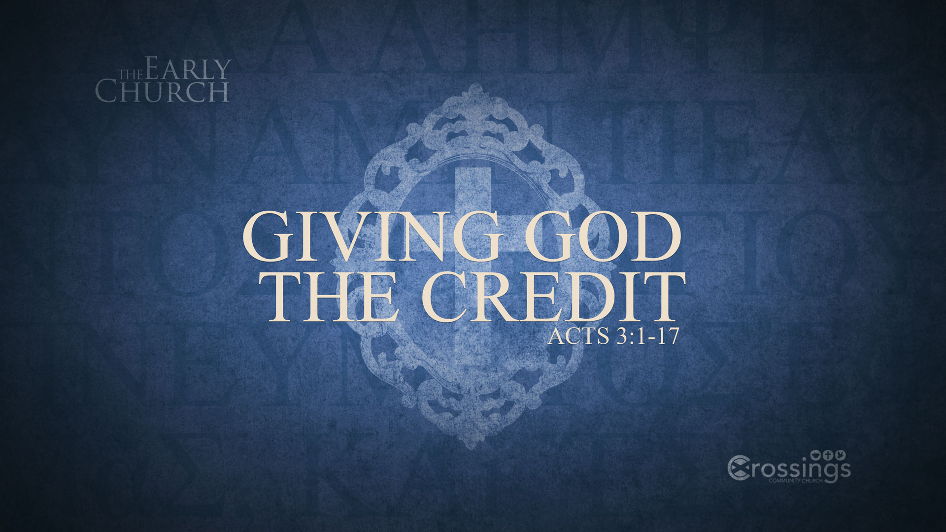 Giving God The Credit